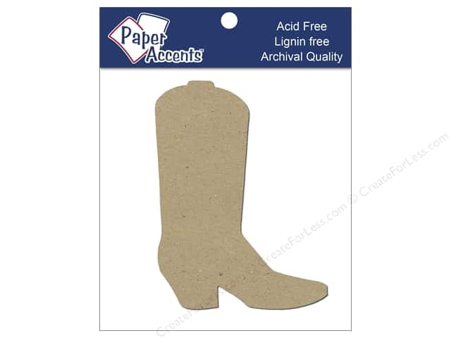 Paper Accents Chip Shape Cowboy Boot Natural 8pc