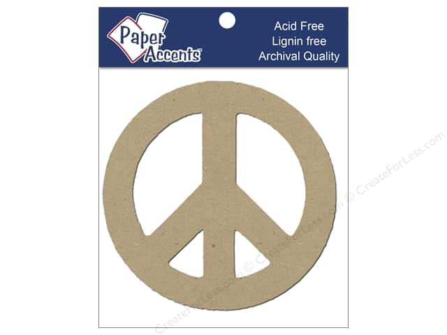 Paper Accents Chipboard Shape Peace Symbol 8 pc. Kraft