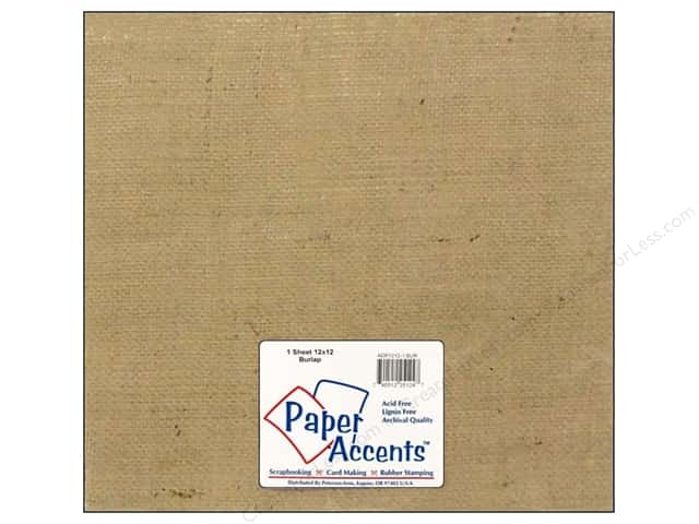"Paper Accent Fabric Sheet 12""x 12"" Burlap"