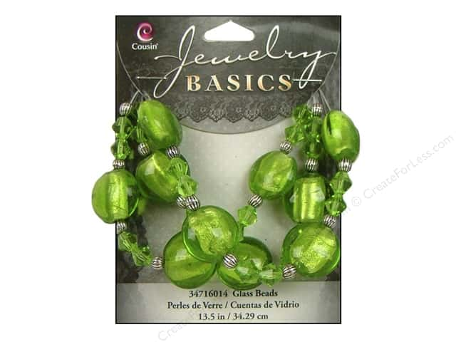 "Cousin Basics Bead Glass Mixed 13.5"" Green"
