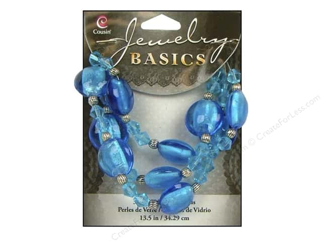 "Cousin Basics Bead Glass Mixed 13.5"" Aqua"