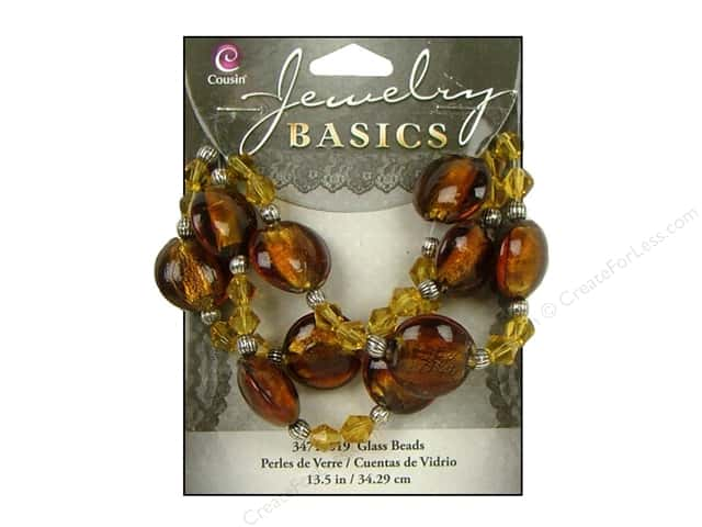 Cousin Basics Glass and Metal Beads 13 1/2 in. (342 mm) Bicone Round Dark Topaz