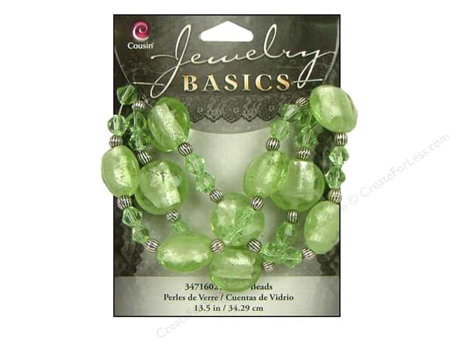 "Cousin Basics Bead Glass Mixed 13.5"" Lt Green"