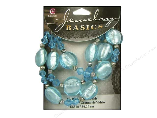 Cousin Basics Glass and Metal Beads 13 1/2 in. (342 mm) Bicone Round Light Aqua
