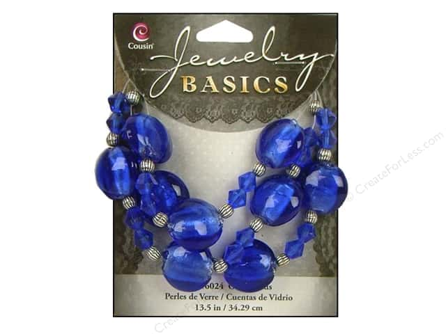 Cousin Basics Glass and Metal Beads 15 mm Bicone Round Sapphire