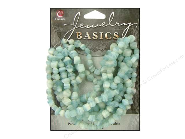 Cousin Basics Glass Beads 4 mm Bicone Swirl Turquoise 200 pc.