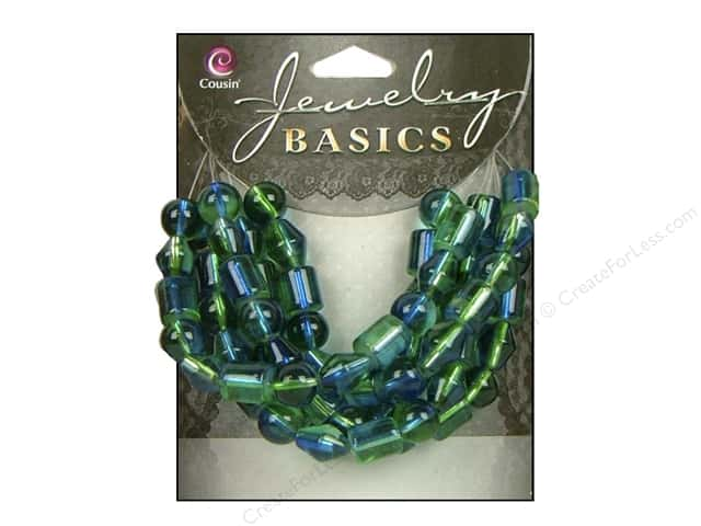 Cousin Bead Glass 2 Tone Green/Blue 62pc