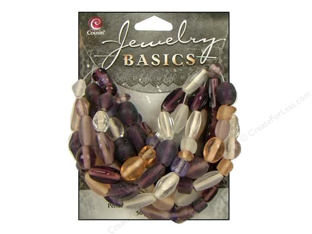 Cousin Bead Glass Mixed Hues & Shapes Lavender 50gm