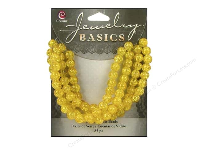 Cousin Basics Bead Glass Round 6mm Cracked Yellow 85pc