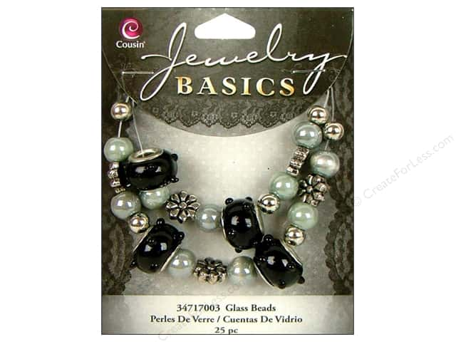 Cousin Bead Glass Large Hole Mix Black/Grey 25pc