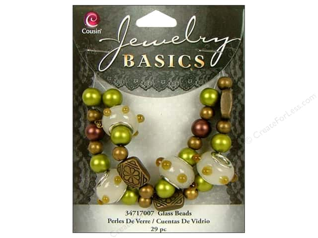 Cousin Bead Glass Large Hole Mix Gold 29pc