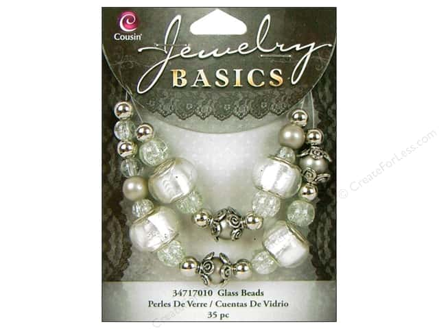Cousin Basics Glass Mix Beads Large Hole White 35 pc.