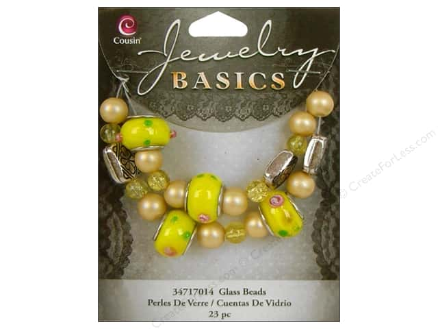 Cousin Basics Bead Glass Large Hole Mix Yellow 23pc