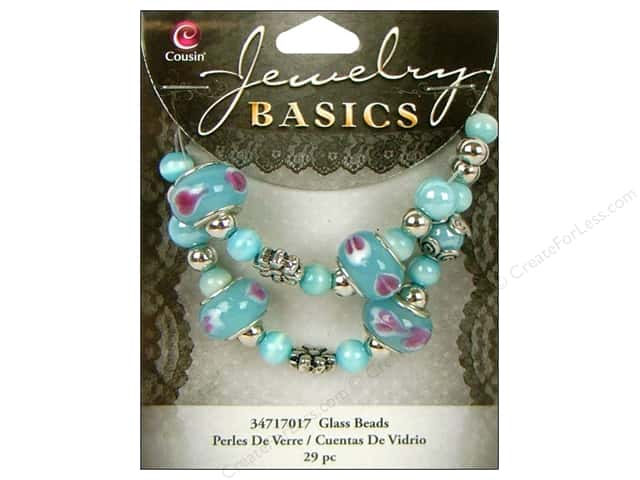 Cousin Bead Glass Large Hole Mix Aqua 29pc