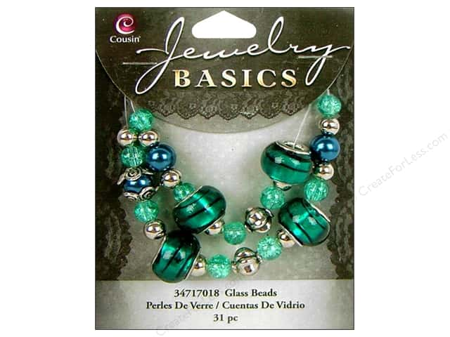 Cousin Basics Glass Mix Beads Large Hole Teal 31 pc.