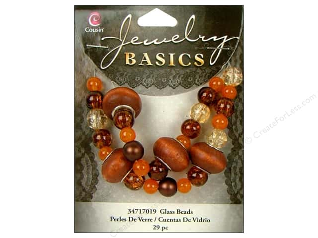 Cousin Bead Glass Large Hole Mix Brown 29pc
