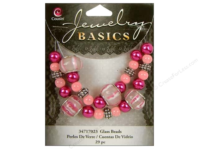 Cousin Basics Bead Glass Large Hole Mix Pink/Purple 29pc