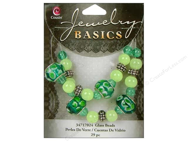 Cousin Basics Glass Mix Beads Large Hole Teal Green 29 pc.