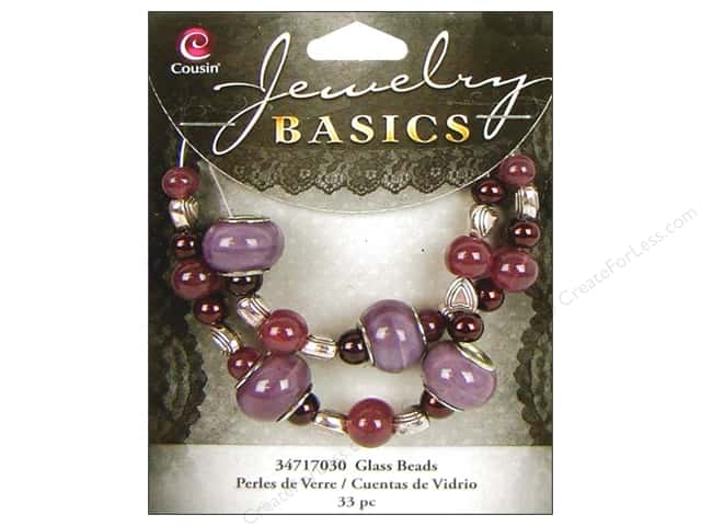 Cousin Bead Glass Large Hole Mix Purple 33pc