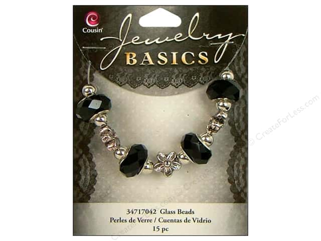Cousin Basics Bead Glass Large Hole Mix Facet Black 15pc