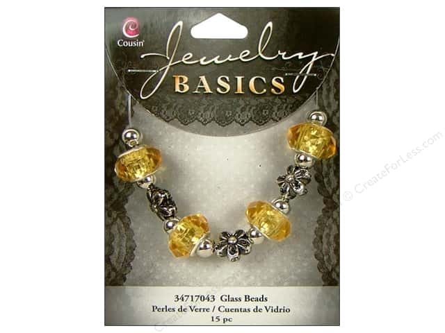 Cousin Bead Glass Large Hole Mix Facet Yellow/Topaz 15pc