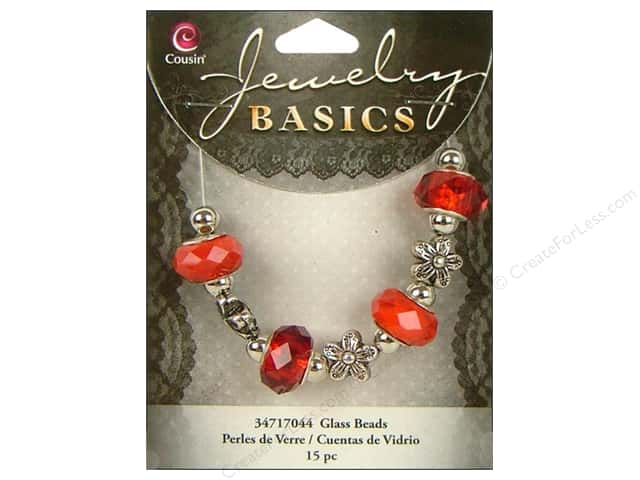Cousin Basics Glass Mix Beads Large Hole Facet Red 15 pc.
