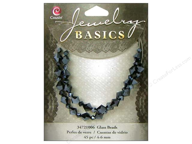 Cousin Basics Bead Glass Crystal Bicone 4-6mm Black 45pc