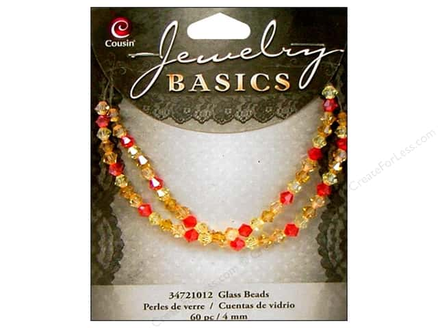 Cousin Basics Glass Beads 4 mm Bicone Crystal Orange & Red 60 pc.