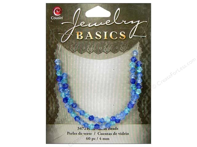 Cousin Bead Glass Crystal Bicone Mix 4mm Blue/Aqua 60pc