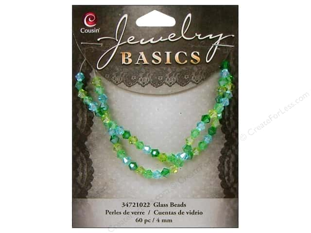 Cousin Bead Glass Crystal Bicone Mix 4mm Green/Aqua 60pc