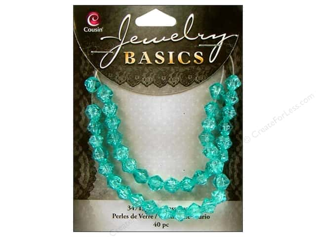 Cousin Bead Glass Bicone 6mm Cracked Aqua 40pc