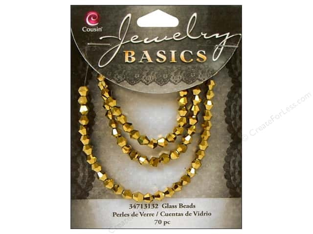 Cousin Basics Glass Beads 4 mm Bicone Metallic Brass 70 pc.