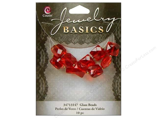 Cousin Basics Bead Glass Faceted Square 10mm Red 10pc