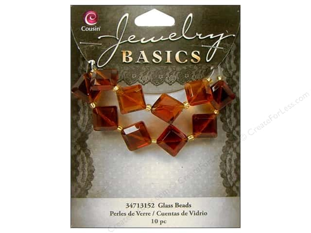 Cousin Bead Glass Diamond 10mm Tortoise 10pc