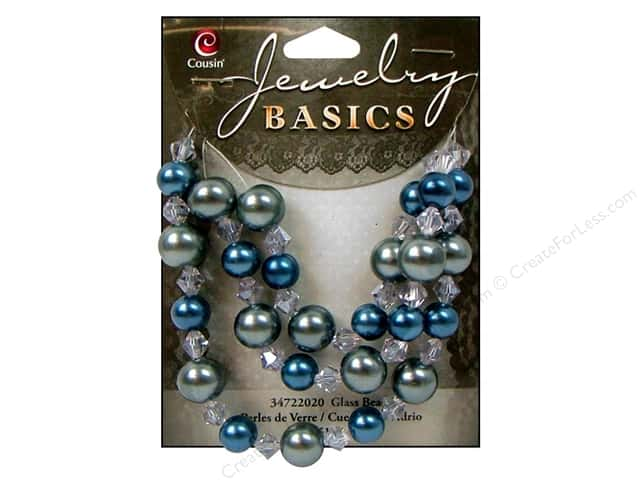Cousin Basics Glass Beads 8-10 mm Pearl Crystal Mix Blue 51 pc.