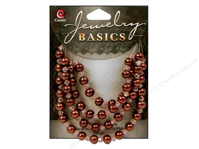 Cousin Basics Bead Glass Pearl/Crystal Mix 6mm Brown 101pc