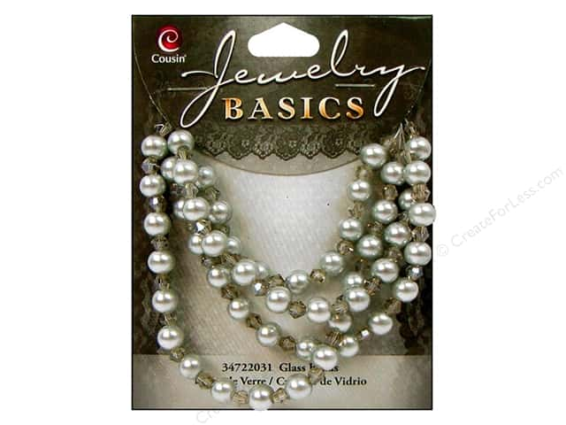 Cousin Basics Glass Beads 6 mm Pearl Crystal Mix Grey 101 pc.