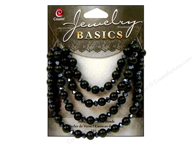 Cousin Basics Glass Beads 6 mm Pearl Crystal Mix Black 101 pc.