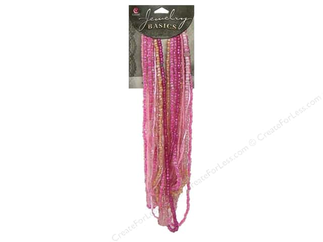 Cousin Basics Glass Seed Mix Beads 3.18 oz. Dark Pink
