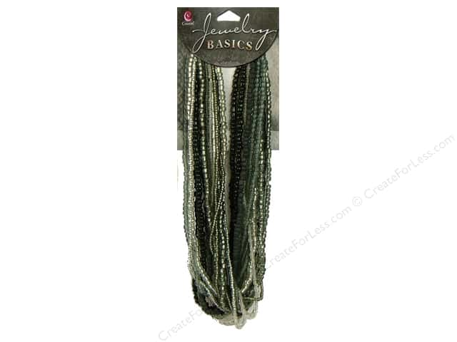 Cousin Basics Bead Glass Seed Mix Dark Grey 3.18oz