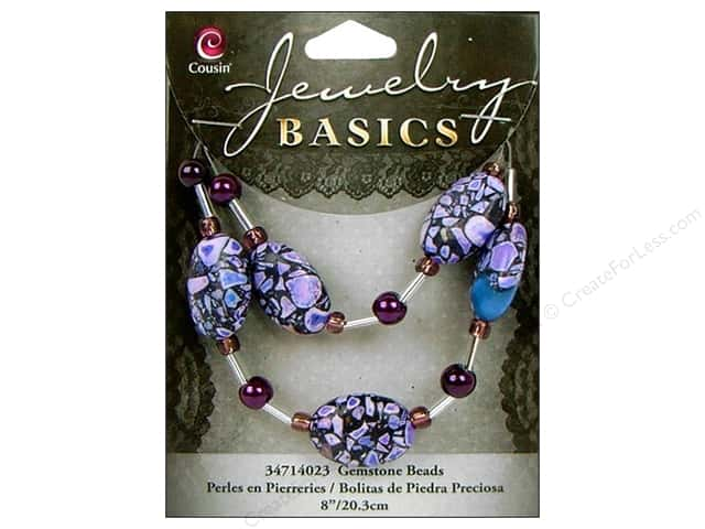 Cousin Basics Gemstone Beads 5 pc. Oval Mix Purple