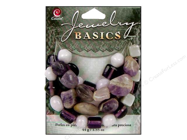 Cousin Basics Bead Gemstone/Glass Amethyst 1.55oz