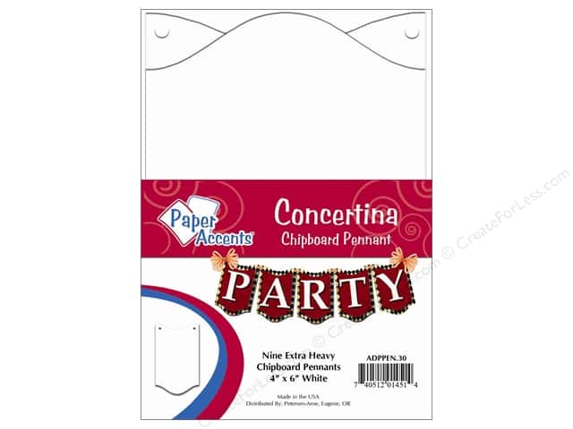 "Paper Accents Chipboard Pennants Concertina 4""x 6"" White 9pc"