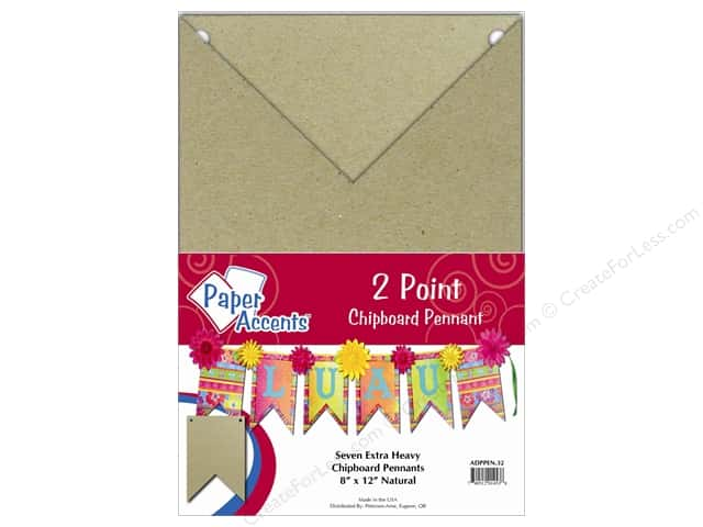 Paper Accents Chipboard Pennants 8 x 12 in.Two Point 7 pc. Kraft