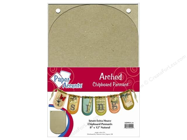Paper Accents Chipboard Pennants 8 x 12 in. Arched 7 pc. Kraft