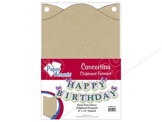 "Paper Accents Chipboard Pennants Concertina 8""x 12"" Natural 7pc"