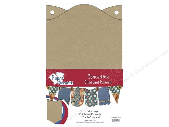 "Paper Accents Chipboard Pennants Concertina 10""x 16"" Extra Large Natural 5pc"