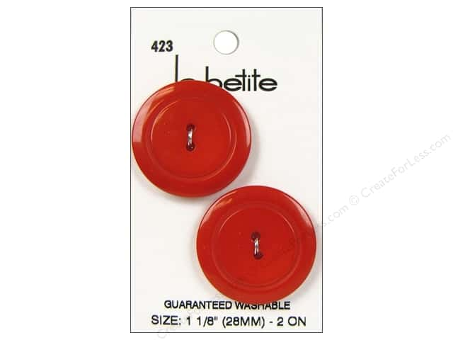 LaPetite 2 Hole Buttons 1 1/8 in. Red #423 2pc.
