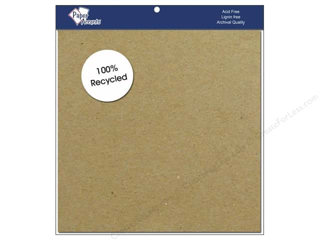 "Paper Accents Cardstock 8""x 8"" Recycled Brown Bag 15pc- 65lb, 100% Recycled paper."