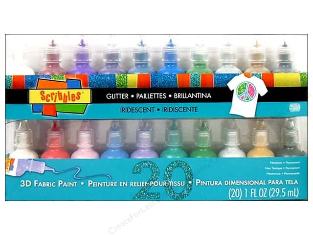 Scribbles Dimensional Fabric Paint Set Effect 20pc
